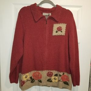 Vintage sweater with roses zip up